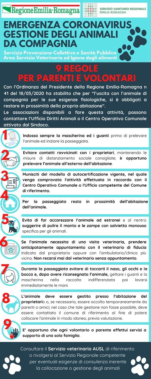 1) covid19 - info Regione Emilia Romagna: 9 regole per parenti e volontari